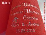 Eleg.-Dinner-Servietten rot, bedruckt mit Silberprägung und Hochzeits-Motiv: H38+ (Brautpaar/Tanzpaar)