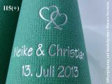 Eleg.-Dinner-Servietten dunkelgrün, bedruckt mit Silberprägung und Hochzeits-Motiv: H5+ (Doppelherzen)
