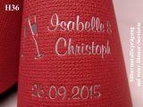 Eleg.-Dinner-Servietten rot, bedruckt mit Silberprägung und Hochzeits-Motiv: H36 (Sektgläser)