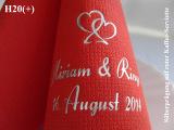 Eleg.-Kaffee-Servietten rot, bedruckt mit Silberprägung und Hochzeits-Motiv: H20+ (Herzsymbol)