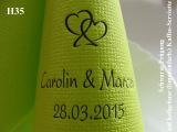 Eleg.-Kaffee-Servietten hellgrün, bedruckt mit schwarzer Prägung und Hochzeits-Motiv: H35 (Doppelherzen)