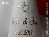 Eleg.-Kaffee-Servietten weiß, bedruckt mit Goldprägung und Hochzeits-Motiv: H20+ (Doppelherzen)
