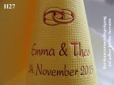 Eleg.-Kaffee-Servietten gelb, bedruckt mit Bordeauxrotmetallicprägung und Hochzeits-Motiv: H27 (Eheringe)