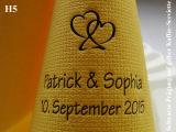 Eleg.-Kaffee-Servietten gelb, bedruckt mit schwarzer Prägung und Hochzeits-Motiv: H5 (Doppelherzen)
