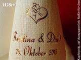 Eleg.-Kaffee-Servietten champagner, bedruckt mit Kupferprägung und Hochzeits-Motiv: H28+ (Brautpaar im Herz)