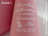 Eleg.-Kaffee-Servietten rosa/altrosa, bedruckt mit weißer Prägung und Kommunion-Motiv: Kom4+ (betende Hände)