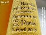 Eleg.-Dinner-Servietten gelb, bedruckt mit Dunkelblaumetallicprägung und Kommunion-Motiv: Kom13 (Fische/Ichthys)