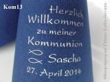 Eleg.-Kaffee-Servietten dunkelblau, bedruckt mit Silberprägung und Kommunion-Motiv: Kom13 (Fische)