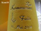 Eleg.-Kaffee-Servietten gelb, bedruckt mit Silberprägung und Kommunion-Motiv: Kom10 (Kerze/Bibel)