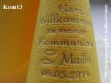 Eleg.-Kaffee-Servietten gelb, bedruckt mit Silberprägung und Kommunion-Motiv: Kom13 (Fische/Ichthys)
