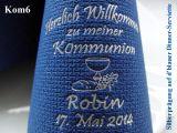 Eleg.-Dinner-Servietten dunkelblau, bedruckt mit Silberprägung und Kommunion-Motiv: Kom6 (Brot/Traube/Kelch)