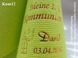 Eleg.-Kaffee-Servietten hellgrün, bedruckt mit Kupferprägung und Kommunion-Motiv: Kom12 (Taube mit Fenster)
