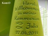 Eleg.-Kaffee-Servietten hellgrün, bedruckt mit Grünmetallicprägung und Kommunion-Motiv: Kom13 (Fische/Ichthys)
