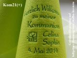 Eleg.-Kaffee-Servietten hellgrün, bedruckt mit Grünmetallicprägung und Kommunion-Motiv: Kom21+ (Fisch/Kelch)