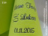 Eleg.-Kaffee-Servietten hellgrün, bedruckt mit Blaumetallicprägung und Tauf-Motiv: T19 (Fische/Ichthys)