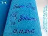 Eleg.-Kaffee-Servietten türkis, bedruckt mit Blaumetallicprägung und Tauf-Motiv: T10 (Engel mit Heilgenschein)