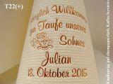 Eleg.-Kaffee-Servietten champagner, bedruckt mit Kupferprägung und Tauf-Motiv: T22+ (Wiege)
