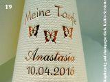 Eleg.-Kaffee-Servietten champagner, bedruckt mit Kupferprägung und Tauf-Motiv: T9 (Schmetterlinge)